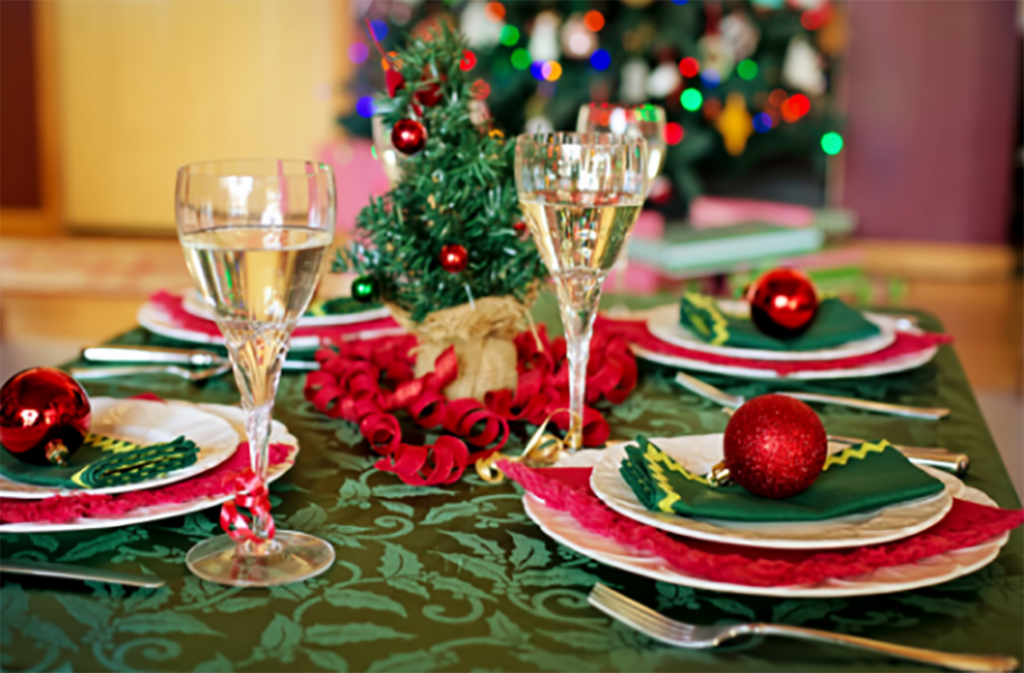 Christmas Safety Tips - Table set for Christmas Dinner